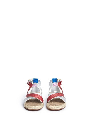 Figure View - Click To Enlarge - Stella Mccartney Kids - 'Raspberry' colourblock metallic glitter kids sandals