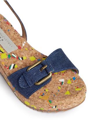 Detail View - Click To Enlarge - STELLA MCCARTNEY KIDS - 'Linda' paint splatter cork wedge denim kids sandals