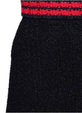 Detail View - Click To Enlarge - Gucci - Stripe rib knit trim tweed skirt