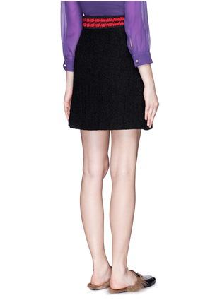 Back View - Click To Enlarge - Gucci - Stripe rib knit trim tweed skirt