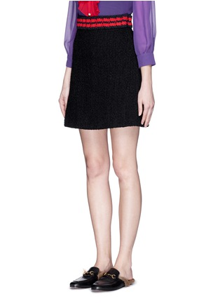 Front View - Click To Enlarge - Gucci - Stripe rib knit trim tweed skirt