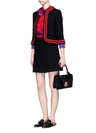 Figure View - Click To Enlarge - Gucci - Stripe rib knit trim tweed skirt