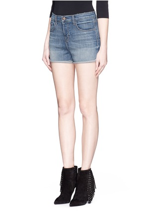 Front View - Click To Enlarge - J Brand - 'Gracie' high rise roll cuff denim shorts