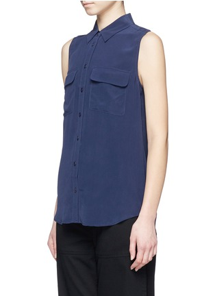 Front View - Click To Enlarge - Equipment - 'Slim Signature' sleeveless silk shirt
