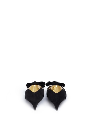 Back View - Click To Enlarge - 73426 - 'Yvette' metallic trim bow suede pumps