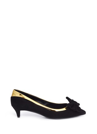 Main View - Click To Enlarge - 73426 - 'Yvette' metallic trim bow suede pumps