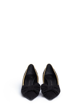 Figure View - Click To Enlarge - 73426 - 'Yvette' metallic trim bow suede pumps