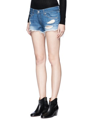 Front View - Click To Enlarge - RAG & BONE/JEAN - 'Cut Off' distressed denim shorts