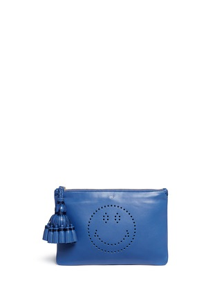 Main View - Click To Enlarge - Anya Hindmarch - 'Smiley Georgiana' perforated leather tassel clutch