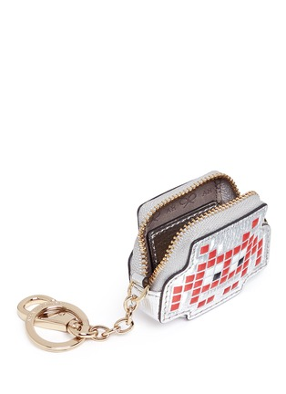 Detail View - Click To Enlarge - Anya Hindmarch - 'Space Invaders' embossed metallic leather coin pouch
