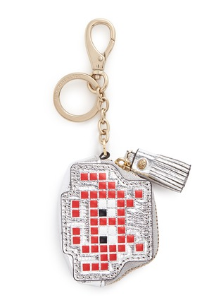 Main View - Click To Enlarge - Anya Hindmarch - 'Space Invaders' embossed metallic leather coin pouch