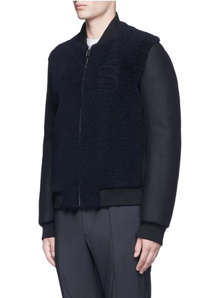 Front View - Click To Enlarge - Balenciaga - Shearling front bomber jacket