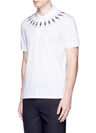 Front View - Click To Enlarge - Neil Barrett - Thunderbolt print polo shirt