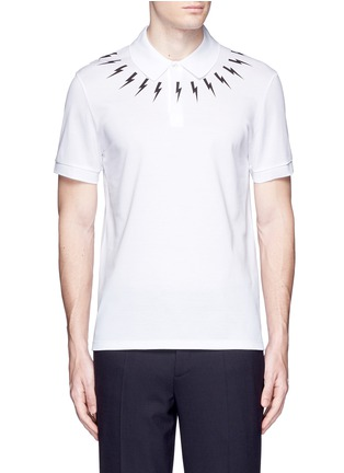 Main View - Click To Enlarge - NEIL BARRETT - Thunderbolt print polo shirt