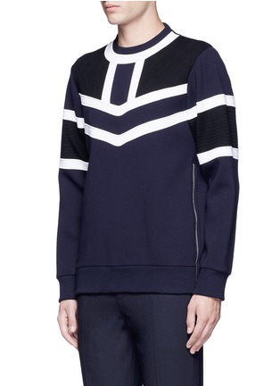 Front View - Click To Enlarge - NEIL BARRETT - Tricolour panelled side zip sweatshirt