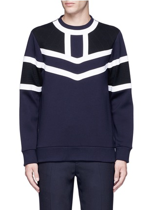 Main View - Click To Enlarge - NEIL BARRETT - Tricolour panelled side zip sweatshirt