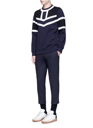 Figure View - Click To Enlarge - NEIL BARRETT - Tricolour panelled side zip sweatshirt