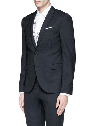 Front View - Click To Enlarge - Neil Barrett - Slim fit diamond jacquard chalk stripe wool suit