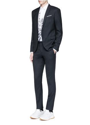 Figure View - Click To Enlarge - Neil Barrett - Slim fit diamond jacquard chalk stripe wool suit