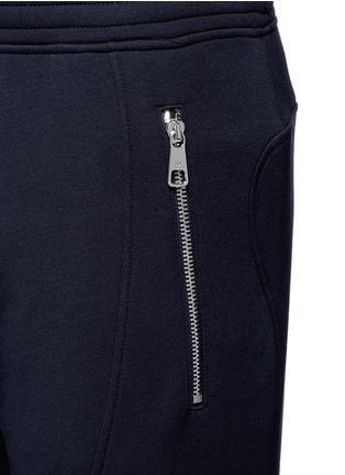 Detail View - Click To Enlarge - Neil Barrett - Faux leather panel bonded jersey biker jogging pants
