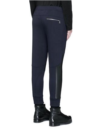 Back View - Click To Enlarge - Neil Barrett - Faux leather panel bonded jersey biker jogging pants
