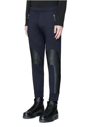 Front View - Click To Enlarge - NEIL BARRETT - Faux leather panel bonded jersey biker jogging pants