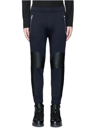 Main View - Click To Enlarge - Neil Barrett - Faux leather panel bonded jersey biker jogging pants