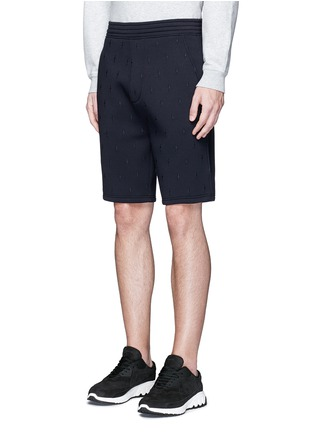 Front View - Click To Enlarge - Neil Barrett - Thunderbolt embroidery bonded jersey shorts
