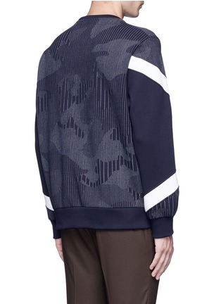 Back View - Click To Enlarge - Neil Barrett - Camouflage pinstripe panelled sweatshirt