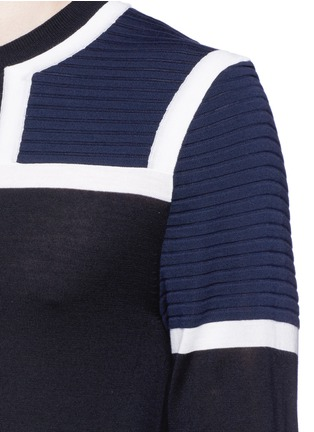 Detail View - Click To Enlarge - NEIL BARRETT - Shoulder panel Merino wool sweater