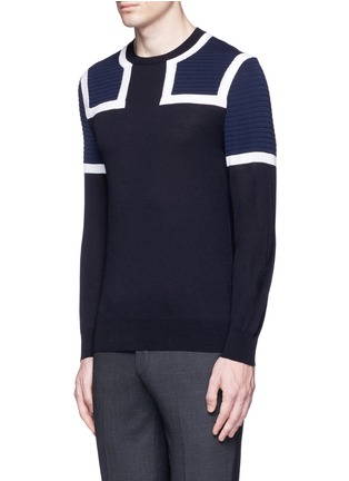 Front View - Click To Enlarge - NEIL BARRETT - Shoulder panel Merino wool sweater