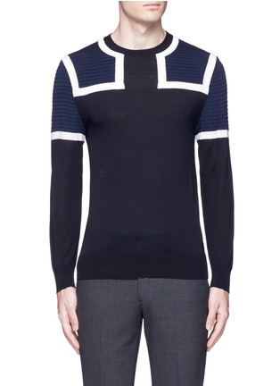 Main View - Click To Enlarge - Neil Barrett - Shoulder panel Merino wool sweater