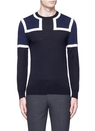 Main View - Click To Enlarge - NEIL BARRETT - Shoulder panel Merino wool sweater