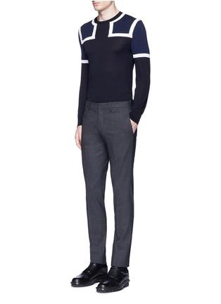 Figure View - Click To Enlarge - NEIL BARRETT - Shoulder panel Merino wool sweater