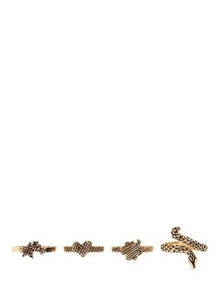 Main View - Click To Enlarge - SAINT LAURENT - 'Trésor' brass four ring set