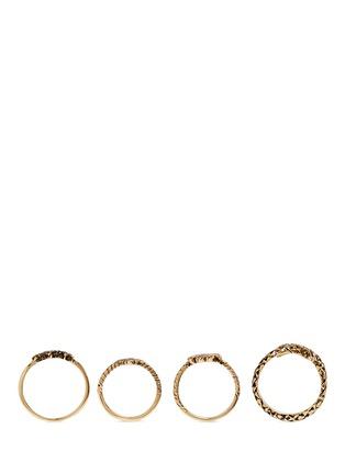 Figure View - Click To Enlarge - SAINT LAURENT - 'Trésor' brass four ring set