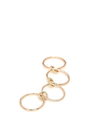 Detail View - Click To Enlarge - Spinelli Kilcollin - 'Sonny SP' diamond 18k rose gold four link ring