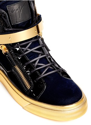 Detail View - Click To Enlarge - Giuseppe Zanotti Design - 'Coby London' leather velvet combo high top sneakers