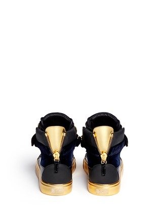Back View - Click To Enlarge - Giuseppe Zanotti Design - 'Coby London' leather velvet combo high top sneakers