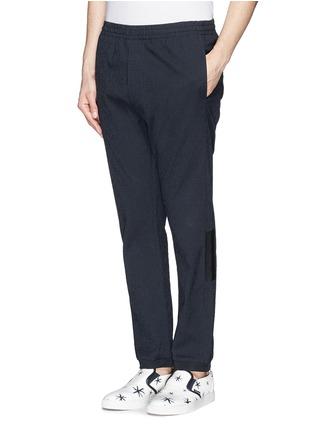 Front View - Click To Enlarge - MAURO GRIFONI - Elastic waist stripe seersucker pants