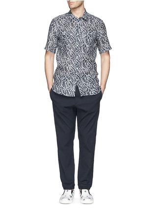 Figure View - Click To Enlarge - MAURO GRIFONI - Elastic waist stripe seersucker pants