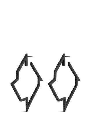 Main View - Click To Enlarge - Lynn Ban - 'Throwing Star' diamond black rhodium silver hoop earrings