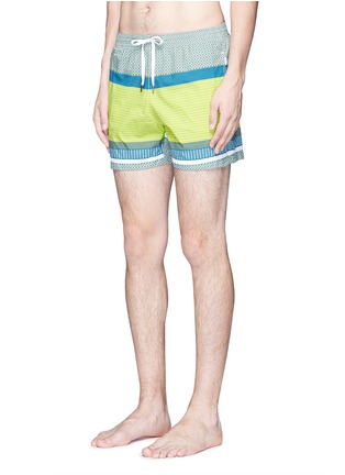 Figure View - Click To Enlarge - DANWARD - Mid length geometric print swim shorts