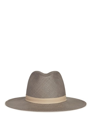 Main View - Click To Enlarge - Janessa Leone - 'Bailey' leather band straw Panama hat