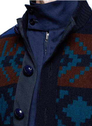 Detail View - Click To Enlarge - Sacai - Pixel stripe cardigan overlay twill jacket