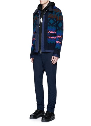 Figure View - Click To Enlarge - Sacai - Pixel stripe cardigan overlay twill jacket