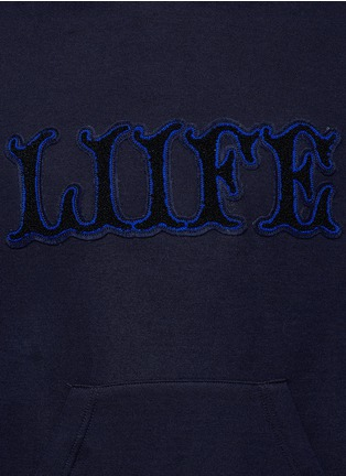 Detail View - Click To Enlarge - Sacai - 'LIIFE' embroidery cotton blend neoprene hoodie