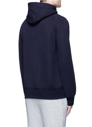 Back View - Click To Enlarge - SACAI - 'LIIFE' embroidery cotton blend neoprene hoodie