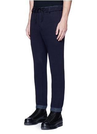 Front View - Click To Enlarge - Sacai - Windbreaker trim drawstring jersey sweatpants