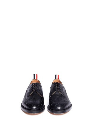 Front View - Click To Enlarge - THOM BROWNE - Pebble grain leather brogue Derbies